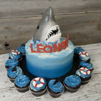 Jaws Cake Shark cake and cupcakes