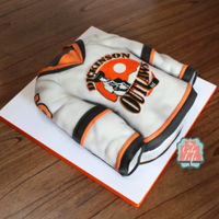 Jersey Cake Hockey jersey cake for our local hockey team, the Dickinson Outlaws.