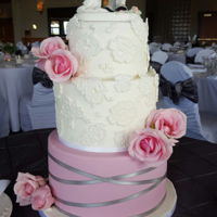 Lace And Blush Pink Wedding Cake lace and blush pink wedding cake