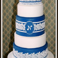 Lace And Monogram Wedding Cake Navy and White cake with lace and monogram. I made the lace with Sugar Dress, stenciled 2 tiers and created the monogram using a cookie...