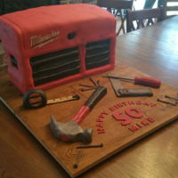 Mike's Toolbox Cake   Toolbox cake made of fondant. All tools made of fondant/gumpaste mix.