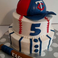 Minnesota Twins Baseball Cake With Hat And Bat MIinnesota Twins baseball cake with cap and bat. Buttercream with fondant covered cap and fondant decorations added