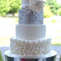 Mixed Texture Wedding Cake   Mixed texture wedding cake with large sugar peony. Original design by Cakes 2 Cupcakes.
