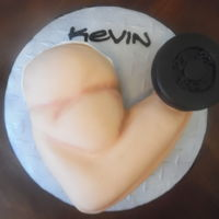 Muscles :)  Fondant covered fresh strawberry cake. Client found pic online, my attempt to recreate. Has anyone ever 'stood you up' in coming...
