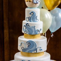 Noah's Ark Christening Cake Noah's Ark christening cake in blue and gold with waves and gold separators. Noah's Ark was made entirely of sugar and contained...