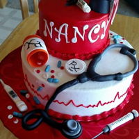 Nurse Graduation Cake   Nursing school graduation cake , butter cream with fondant decorations