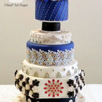 Opulence Indian Cake This design has rich colors, intricate decorations and hand painted jewelry.Lots of hours invested in this cake.