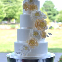 Peony Wedding Cake Sugar peonies in ivory white