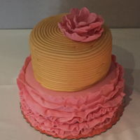 Pink And Gold Baby Shower Cake Pink ruffle cake, gold, and pink ruffle flower