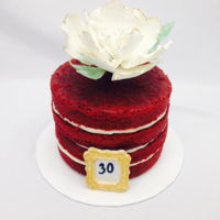 "Pretty In Red Naked red velvet cake with a handmade gum-paste peony flower. I brushed the edges of the petals in gold. Edible gold frame with the ""..."