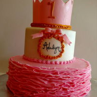 Princess Pretty In Pink First Birthday Cake Pink Princess first birthday cake and smash cake buttercream ruffles