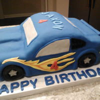 Race Car Cake 8 Boxes of cake mix, 32 eggs, and 6 pounds of powdered sugar. My first car cake. I made it big thinking I would be carving a lot off, but I...