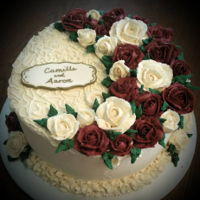Red And White Roses Engagement Cake   Buttercream roses in deep red and white