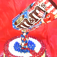 Red White And Blue M&ms Anti Gravity Cake An anti gravity cake using red, white and blue M&Ms. Its a fairly easy and fun effect. A great cake for Labor Day, Fourth of July,...