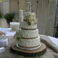 Rustic Wedding Wedding cake . Sugar Lace Burlap Sugar flowers