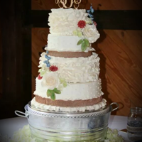 Rustic Wedding Cake Rustic Wedding cake Burlap sugar lace sugar flowers fondant ruffles