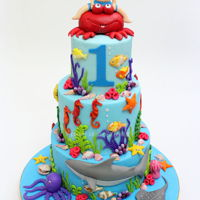 Sea World Cake Sea World Theme Cake designed for a first birthday party