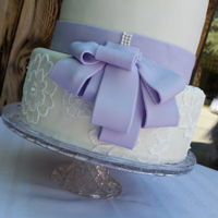 Simple Elegance   Lavender bow, embroidery flowers. LOVE!