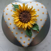 Sunflower Cake Gumpaste sunflower on a heart shaped cake. Hope you like it.Zoe. xwww.facebook.com/TheCakeNook