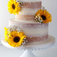 Sunflower Naked Cake Sunflower, naked cake by 2bi Cakes. https://www.facebook.com/2bicakes/