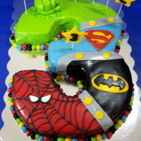 Super Hero Birthday Cake Aug. 2016 A Birthday superhero cake of the Incredible Hulk, Superman, Batman, and Spider-Man.