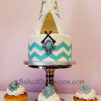 Teepee Cake And Cupcakes Thank you Karen's Kakes for inspiration for teepee baby shower cake with fondant Indian jewelry to match on cupcakes.