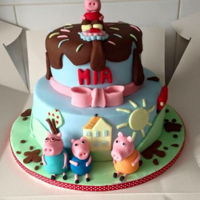 Tiered Peppa Pig Cake Peppa pig cake with handmade fondant characters