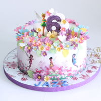 Tinkerbell Garden Tinkerbell Garden for Jazz Whipped cream frosted cake