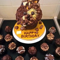 Ultimate Chocolate Giant Cupcake Ultimate Chocolate Giant Cupcake with chocolate case and buttercream. Accompanied with chocolate themed cupcakes - chocolate hazelnut...