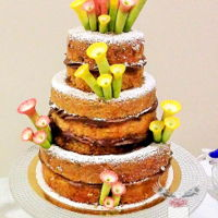 Unusual Naked Cake The bride wanted an unusual naked cake, she didn't want a naked cake with flowers or with fruit!The request was a very simple...
