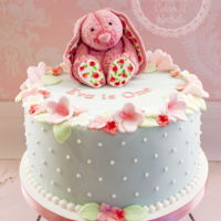 Vintage Pink Bunny Vintage pink bunny 1st birthday cake