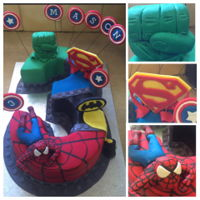 Who Doesnt Love A Superhero So what to make a young boy turning 3, who can't choose which of his superheros he wants on his cake???? A chocolate mud cake hand...