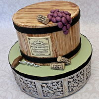 Wine Barrel Cake Wine Barrel cake made for a 70th birthday celebration.