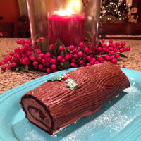 Yule Log Cake   chocolate sponge cake with chocolate mousse filling