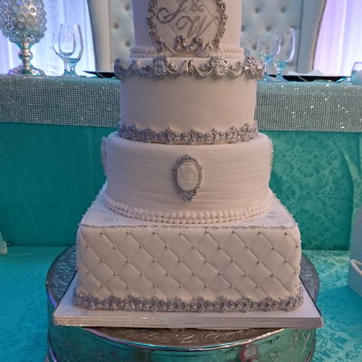 Beautiful Elegant And Gorgeous Royal Vintage Wedding Cake White And Silver