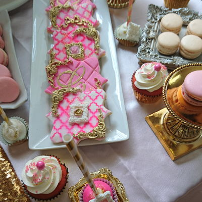 Elegant And Royal Sweet Table Pink White & Gold