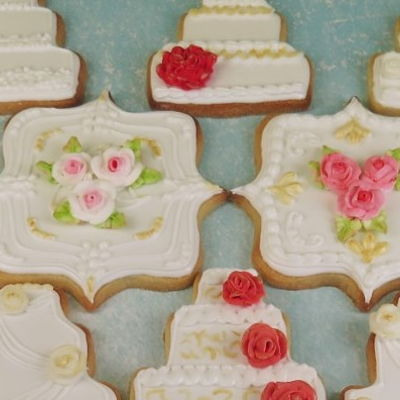Gold & Pink Wedding Cake Cookies on Cake Central