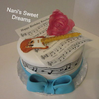 Music Sheet Wafer Paper Rose And Guitar
