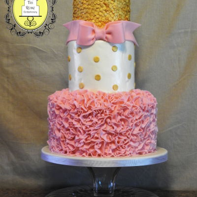 Ruffles N Bows Baby Shower Cake