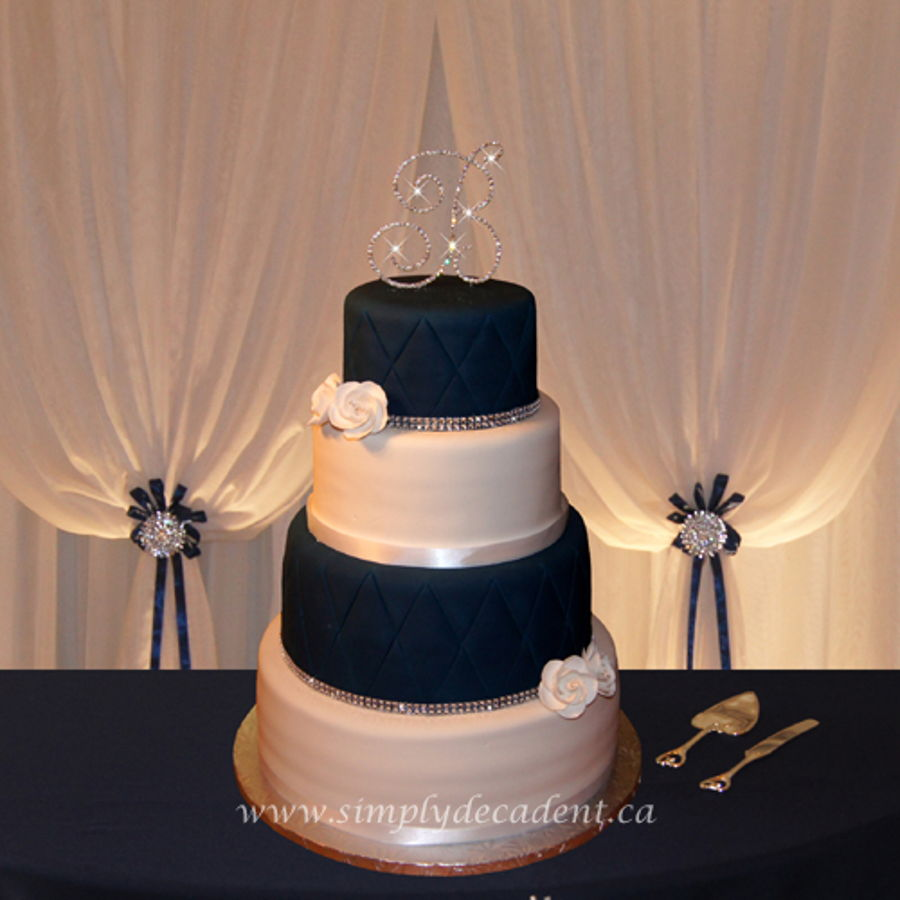 4 Tier Navy Blue White Fondant Wedding Cake With Quilting