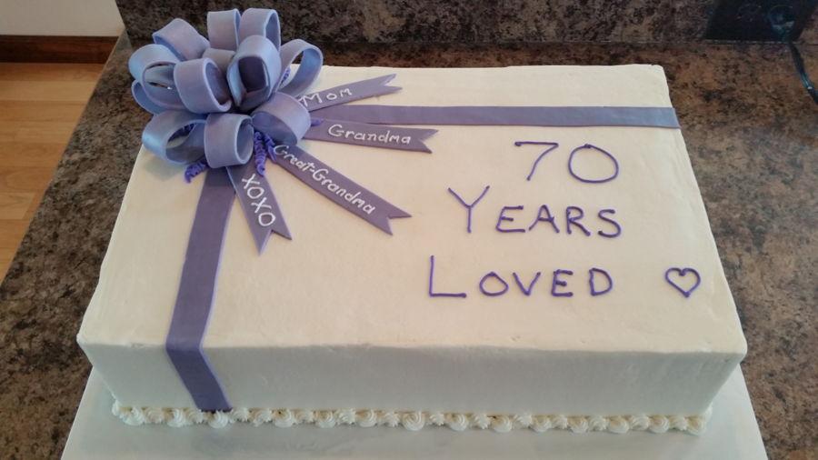 Birthday Sheet Cake Fondant Ribbon And Bow Cakecentral Com