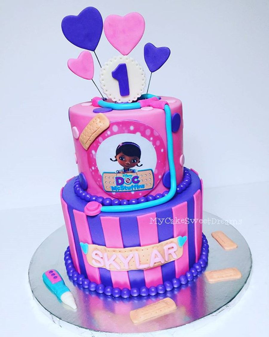 Super Doc Mcstuffins 1St Birthday Cake Cakecentral Com Personalised Birthday Cards Bromeletsinfo