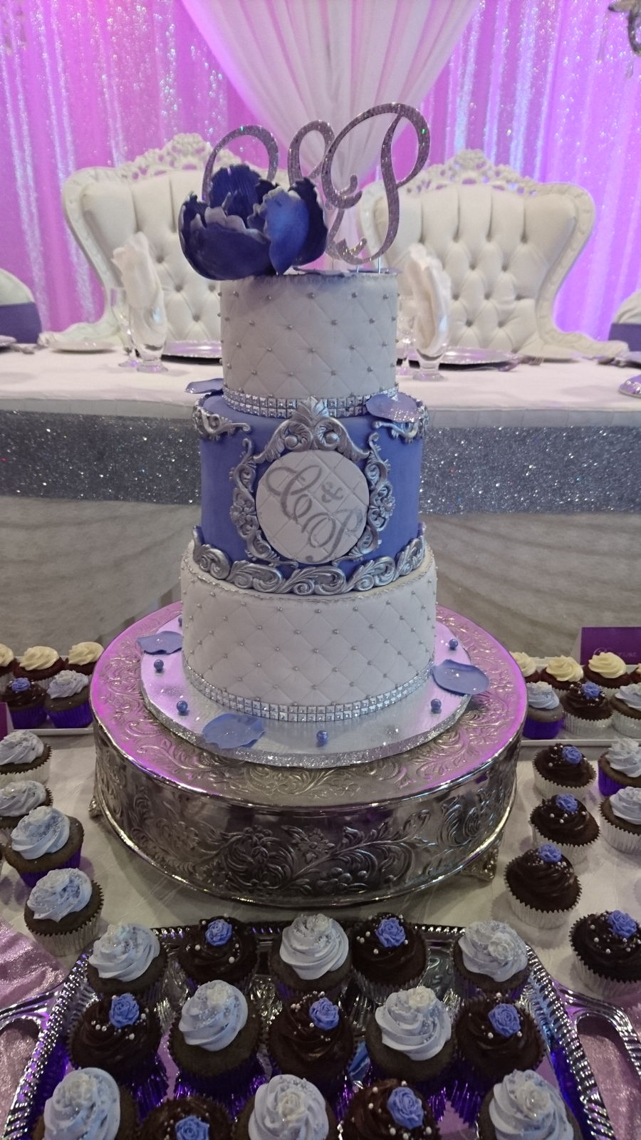 Elegant Baroque Modern Lavender White Silver Wedding Cake On Central