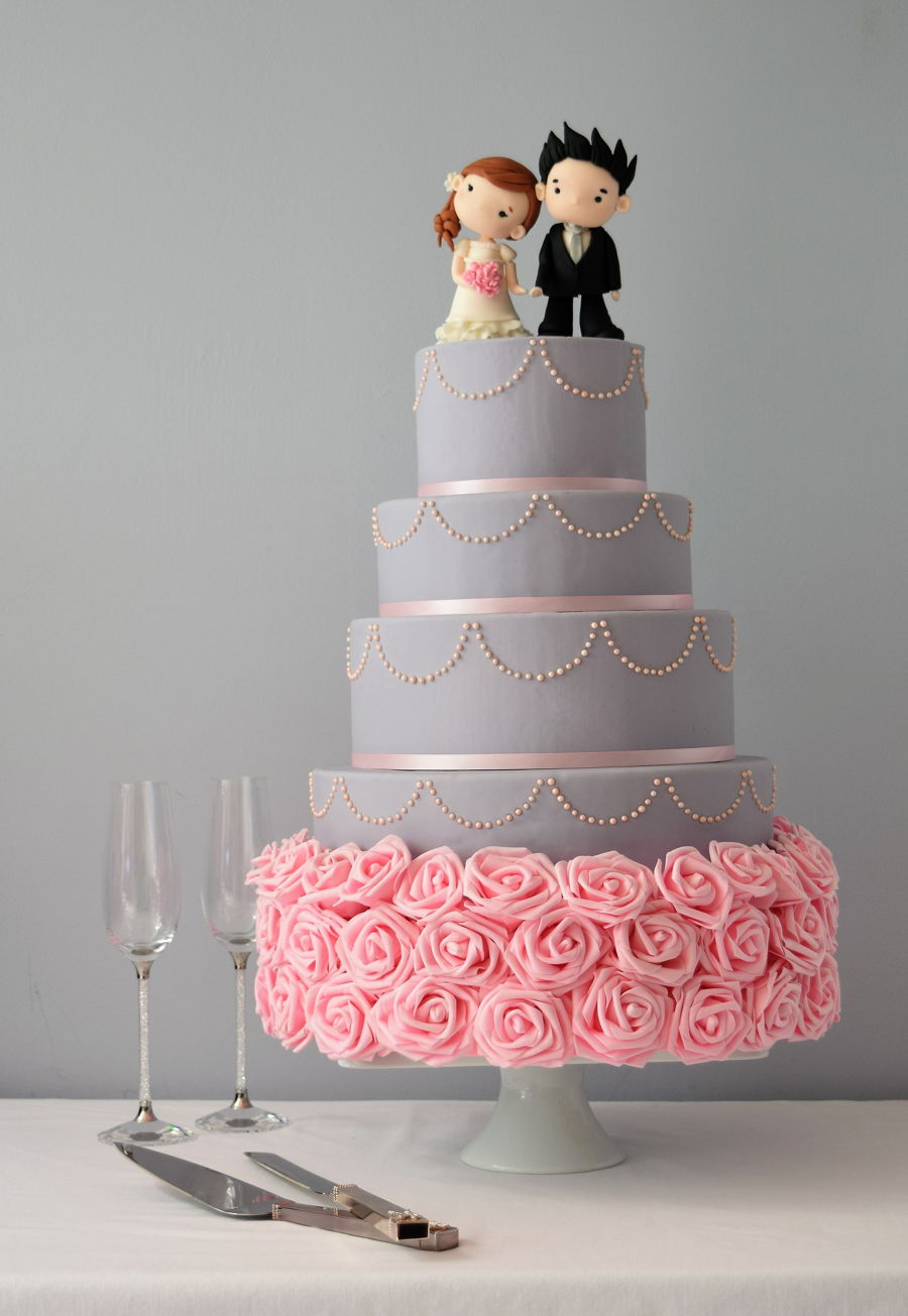 Grey And Pink Wedding Cake With Hand Sculpted Bride Groom Topper Inspired By Deliciously Yummy