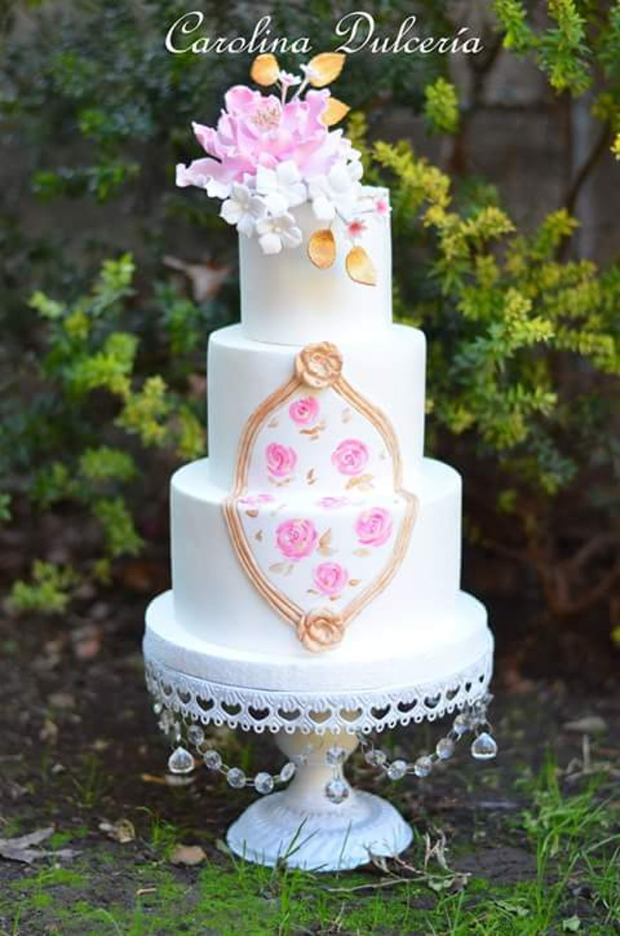 Flowers And Baroque Plaque on Cake Central