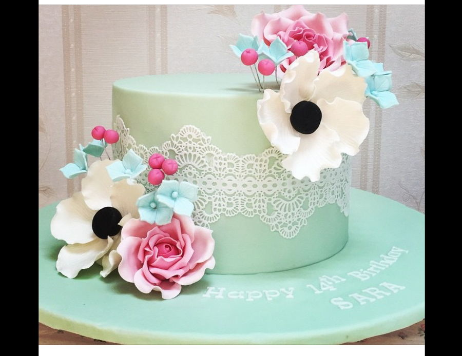 Flowers N Lace Cake on Cake Central