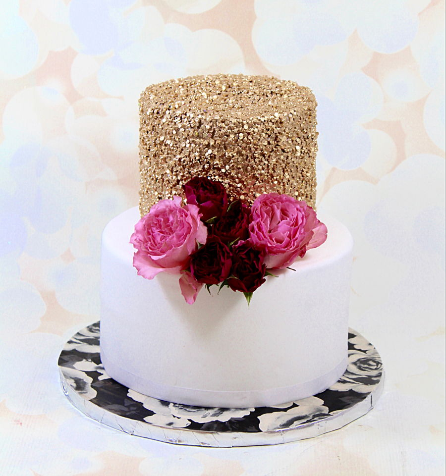 Gold Sequin Cake Decoration : Gold Sequin Cake - CakeCentral.com
