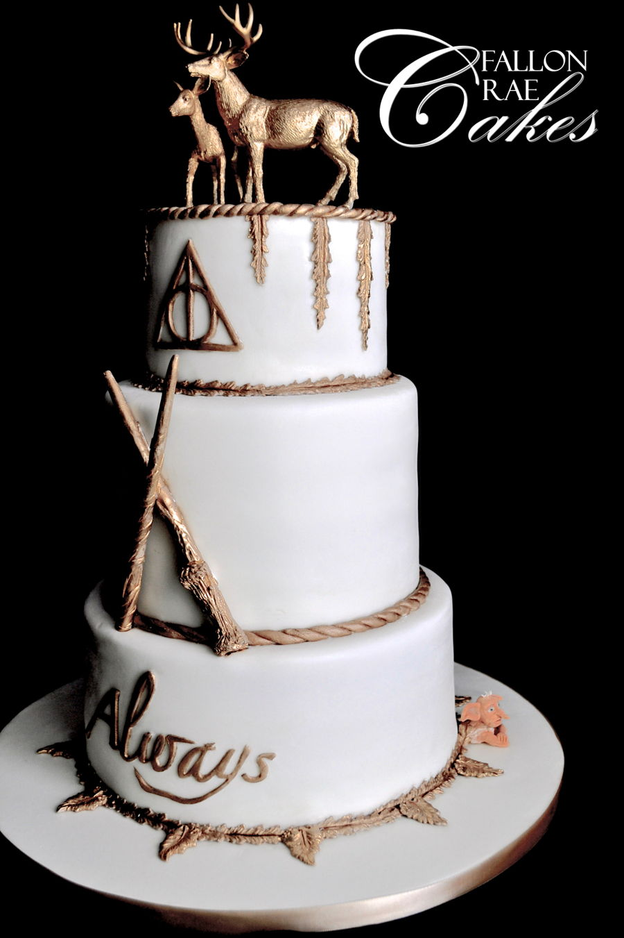 This Is A Cake I Created For Lovely Harry Potter Themed Wedding It Consisted Of The Gold Stag Doe Harrys Wand Hermoines Deathly Hallow Symbol