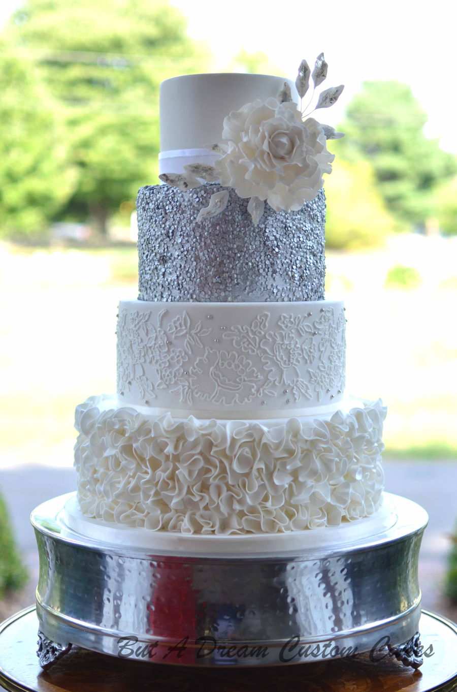 Mixed Texture Wedding Cake on Cake Central
