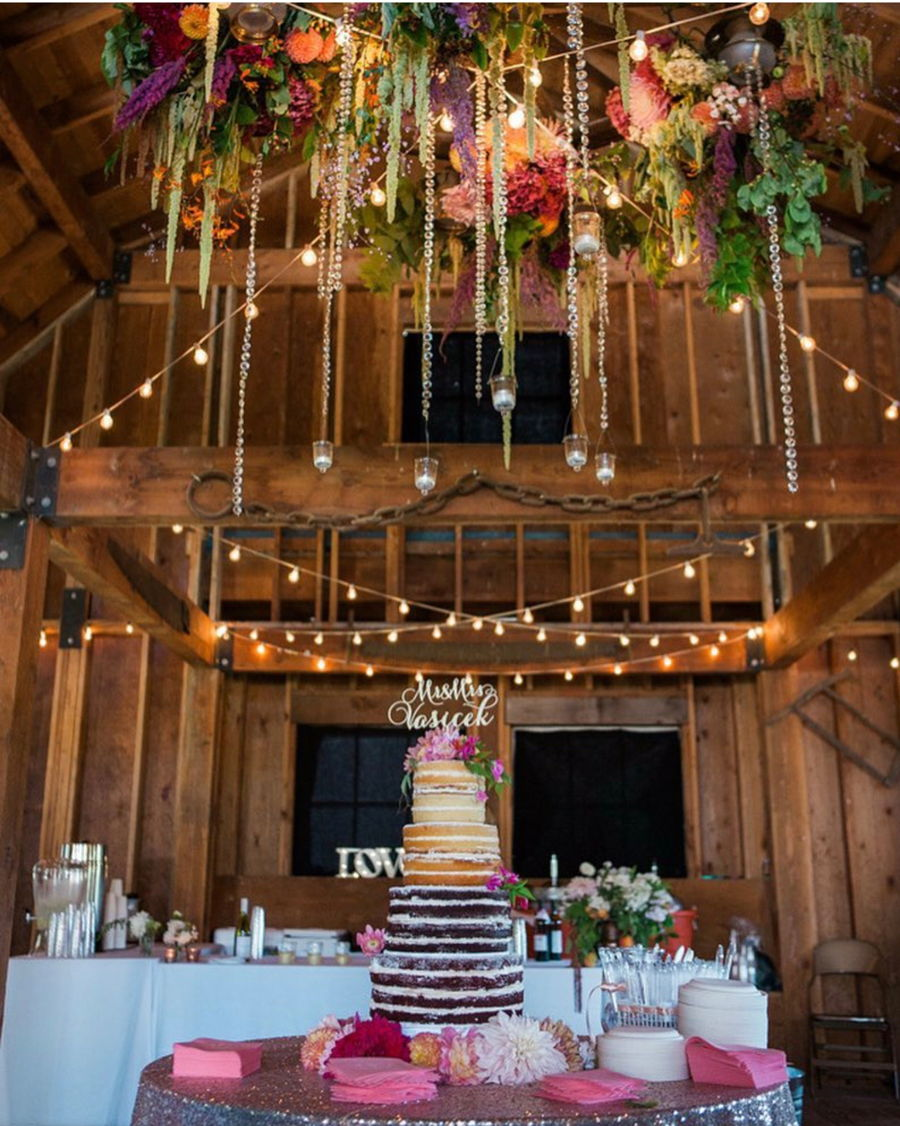 Naked Cake With Real Flowers For A Barn Wedding on Cake Central